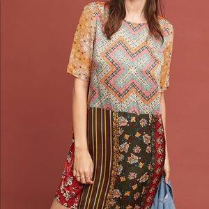Anthropologie Patchwork Pattern Floral Tunic Dress